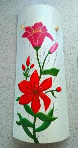 Teja decorada decorativa artesanal lisa flor roja craquelada 800