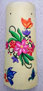 Teja decorada decorativa artesanal lisa flores mariposas 800