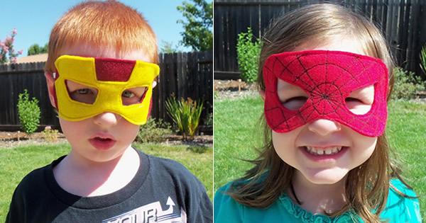 máscara de fieltro de niño superhéroe