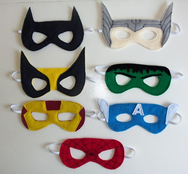 sentía máscaras de superhéroes