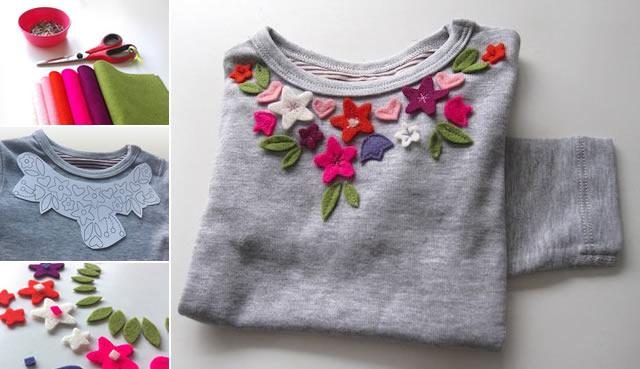 camisa de mujer decorada con fieltro