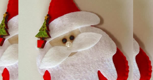 Papá Noel sobre fieltro con molde