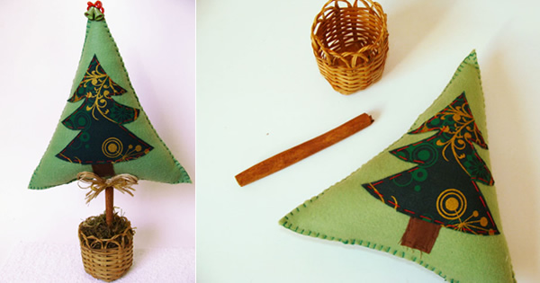 árbol de navidad con cubierta de fieltro