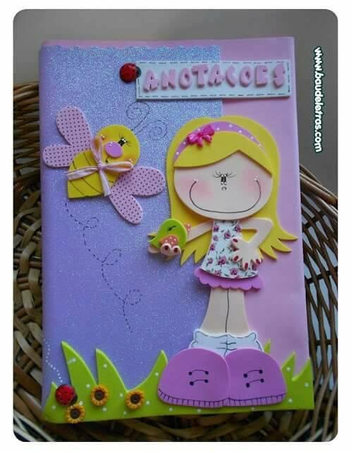 cubierta de cuaderno decorada para niña