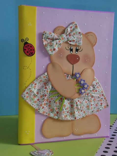 cubierta del cuaderno eva oso de peluche