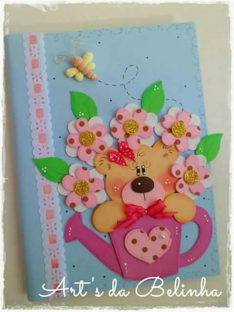 regadera decorada con cuaderno-con-flores-eva
