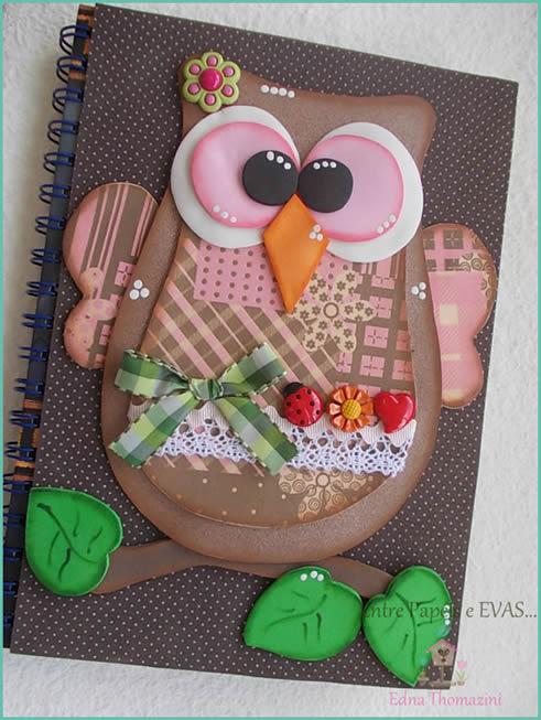 búho marrón-decorado-víspera-cuaderno