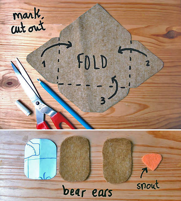 Abra las solapas del sobre y corte el fieltro.