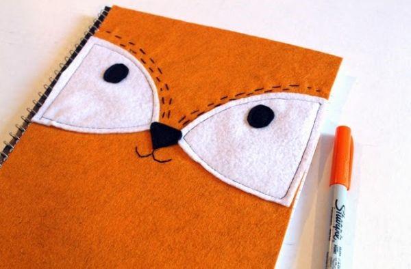 cubierta de cuaderno de fieltro de zorro