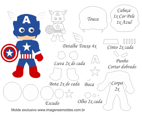superhéroes en fieltro capitán américa