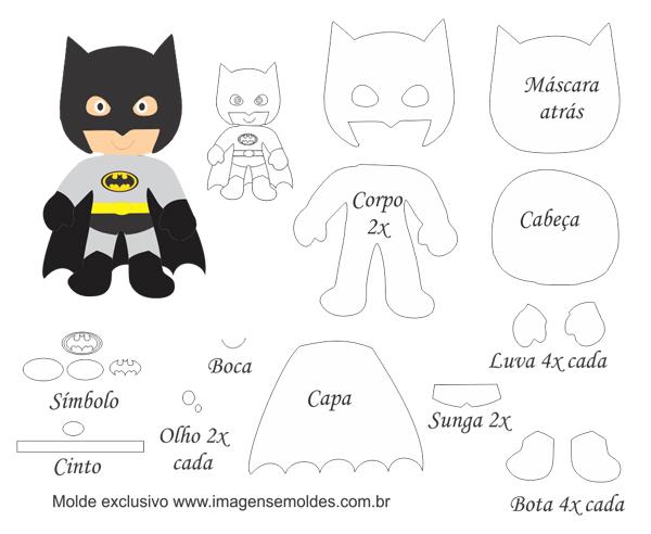 superhéroes en fieltro con molde de batman