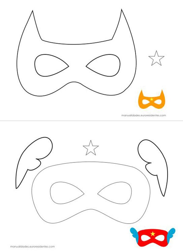superhéroes en molde de máscaras de fieltro