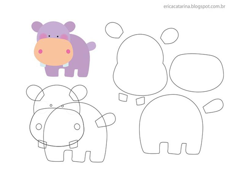 fieltro animales hipopótamo