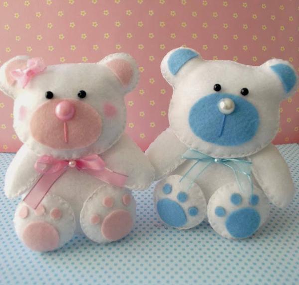 oso de peluche con fieltro niño y niña