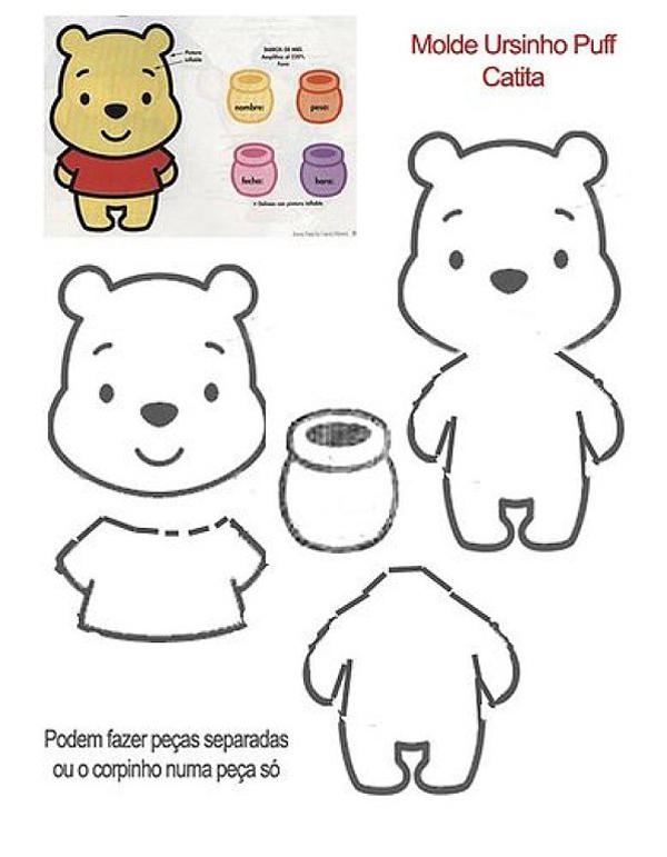 oso de peluche molde con fieltro Pooh