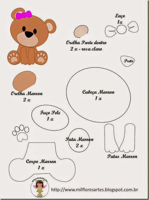 oso de peluche molde con fieltro lindo