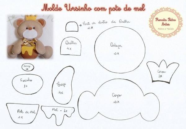 oso de peluche molde con fieltro con corona