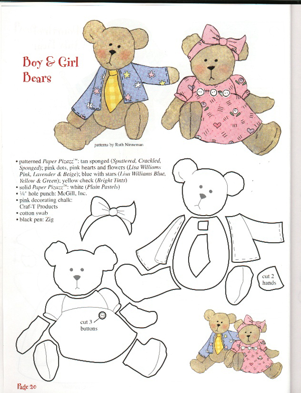 oso de peluche molde con fieltro pareja