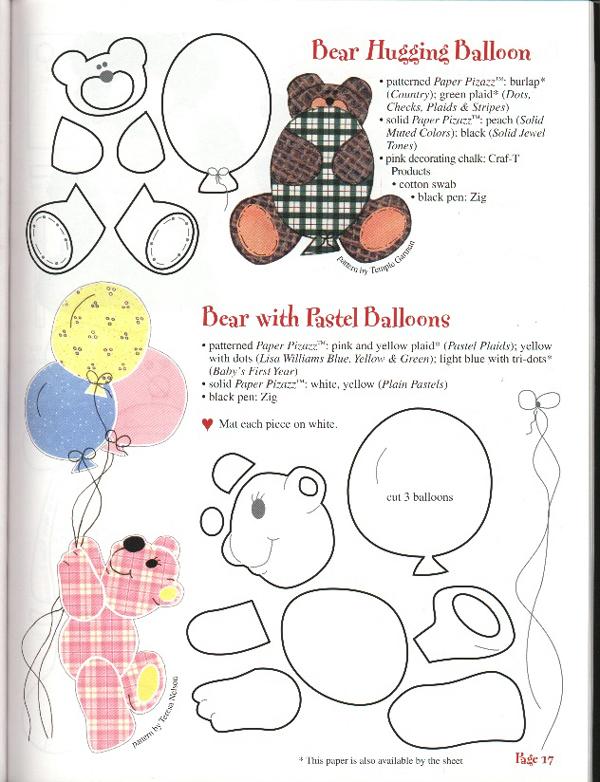 oso de peluche molde con fieltro a cuadros