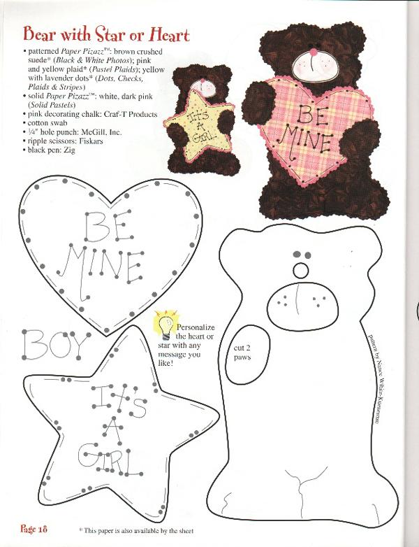 oso de peluche molde con fieltro con estrella y corazón
