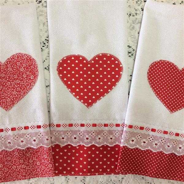 Paños de cocina corazón patchwork