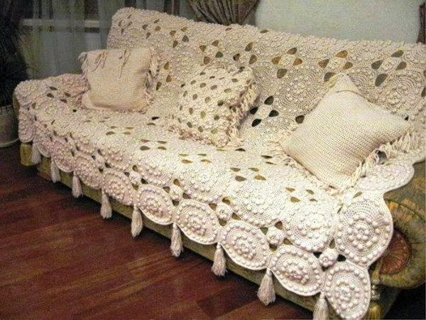 funda de sofá de ganchillo