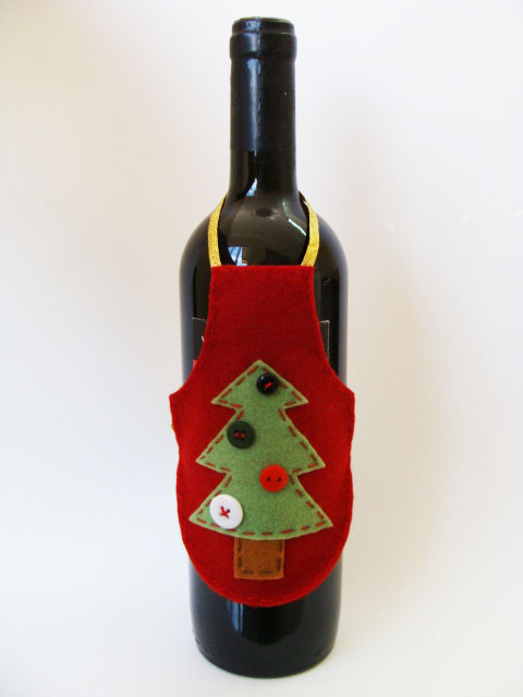 delantal de vino - fieltro manualidades navideñas