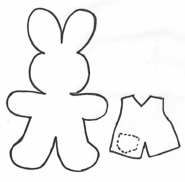 molde de conejo con ropa