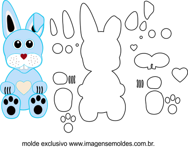 molde de conejo azul