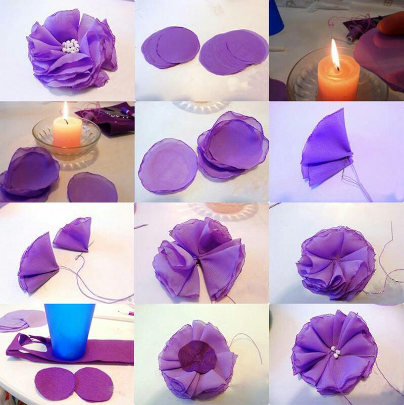flor con tela como hacer