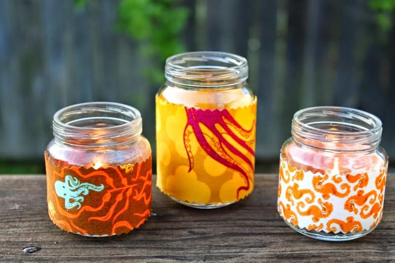 maceta de vidrio decorada con tela fácil