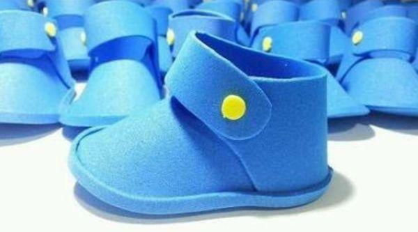 zapato eva azul y amarillo