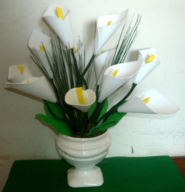 flores hechas de vidrio de leche EVA