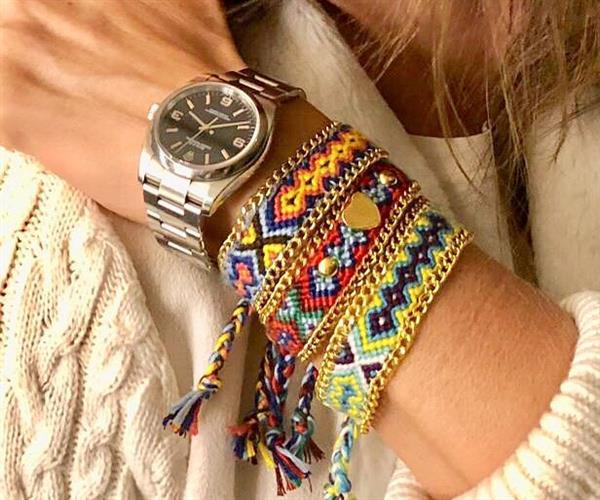 pulsera y cadena de tela