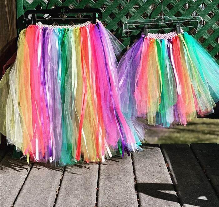 falda de tul de colores