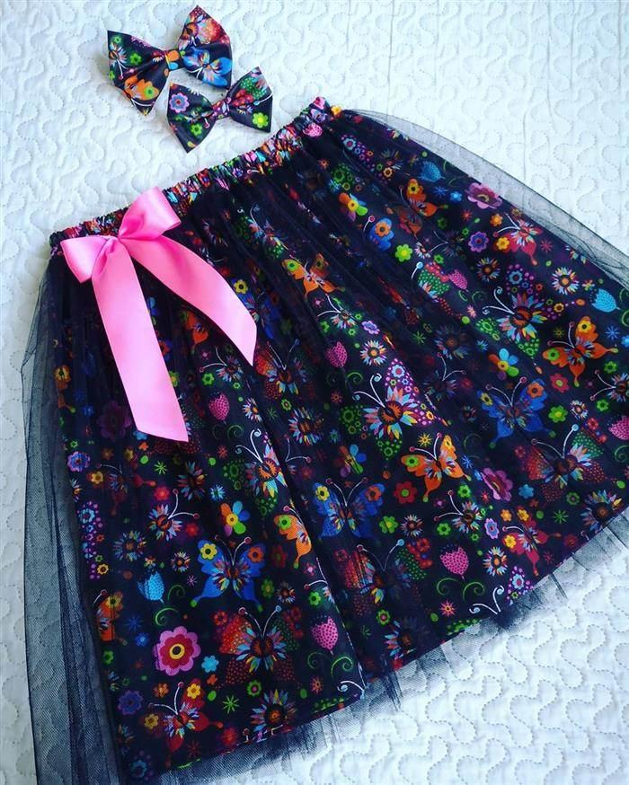 falda de tul estampada