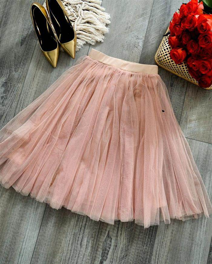 falda midi de tul