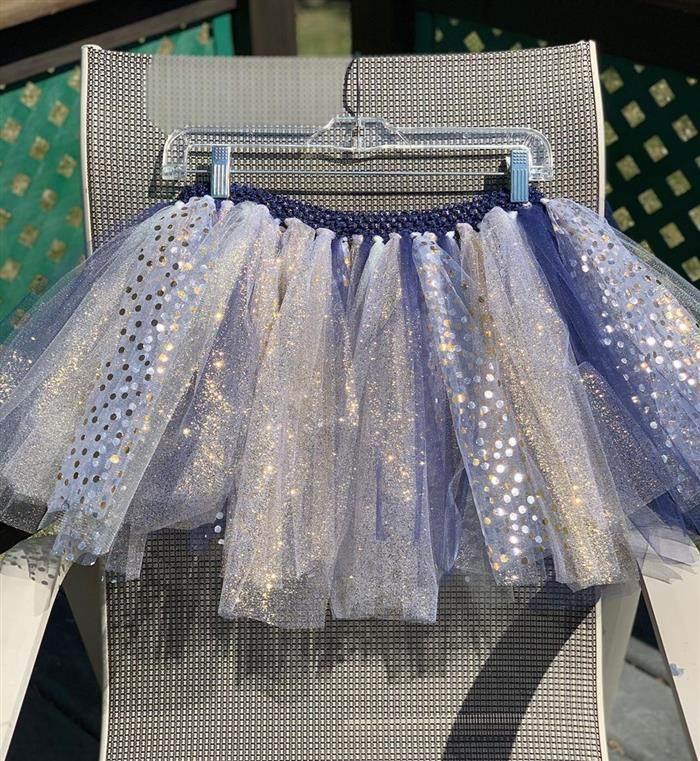falda de tul con purpurina