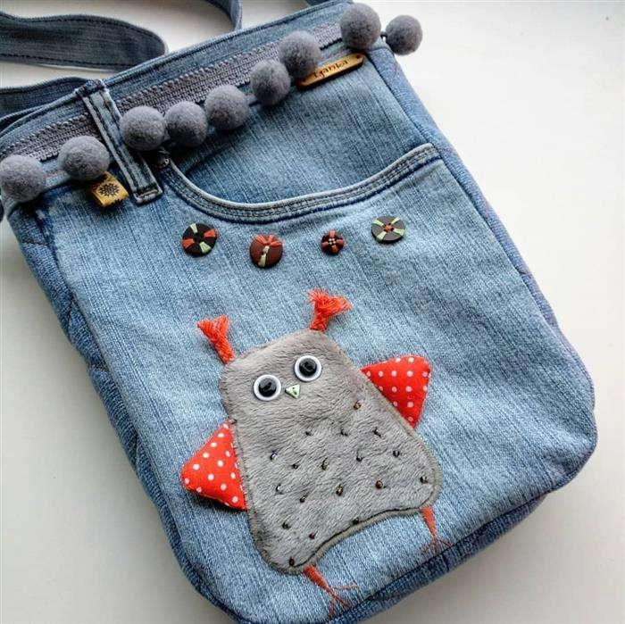bolso de jeans bordados