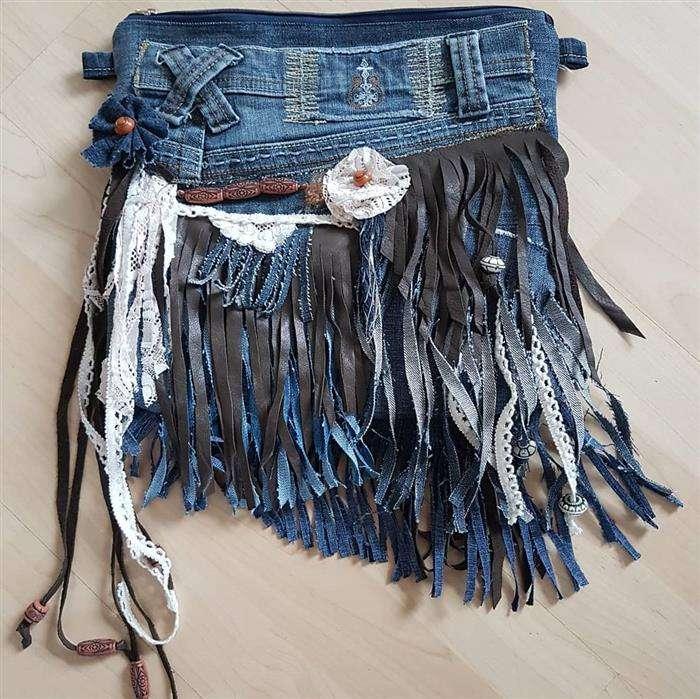 bolsa de jeans con cuero
