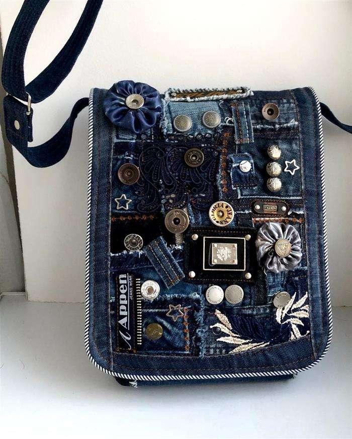 bolsos de jeans bordados