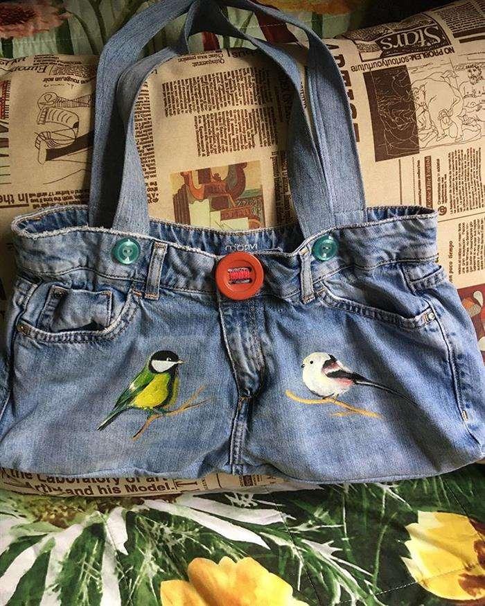 bolso de tela en jeans