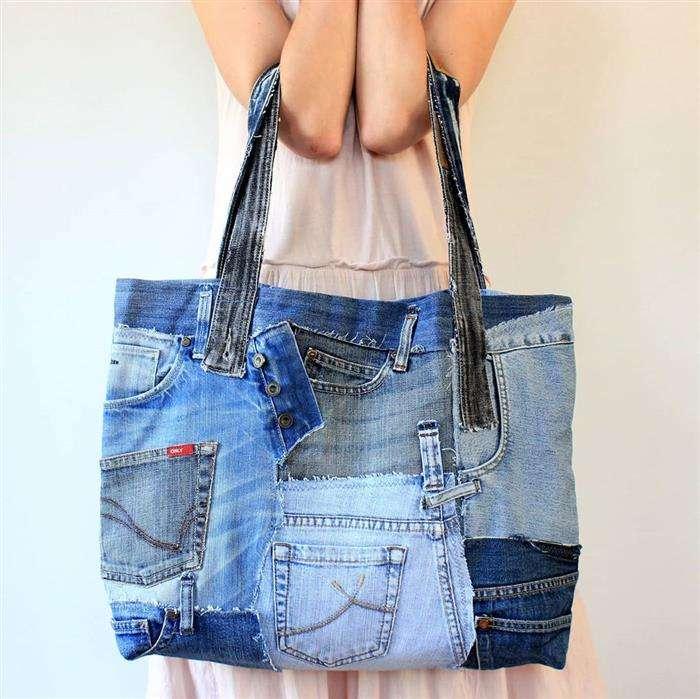 bolso en jeans reciclados