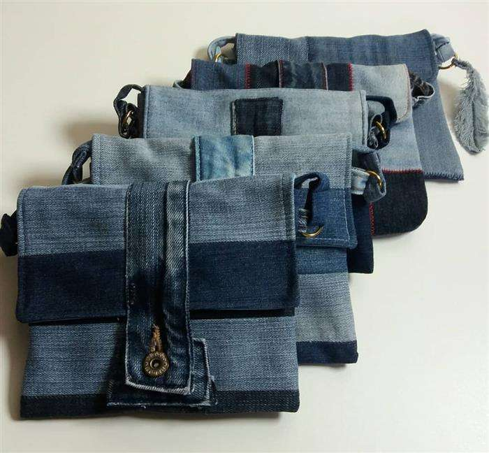 bolso de jeans hecho a mano