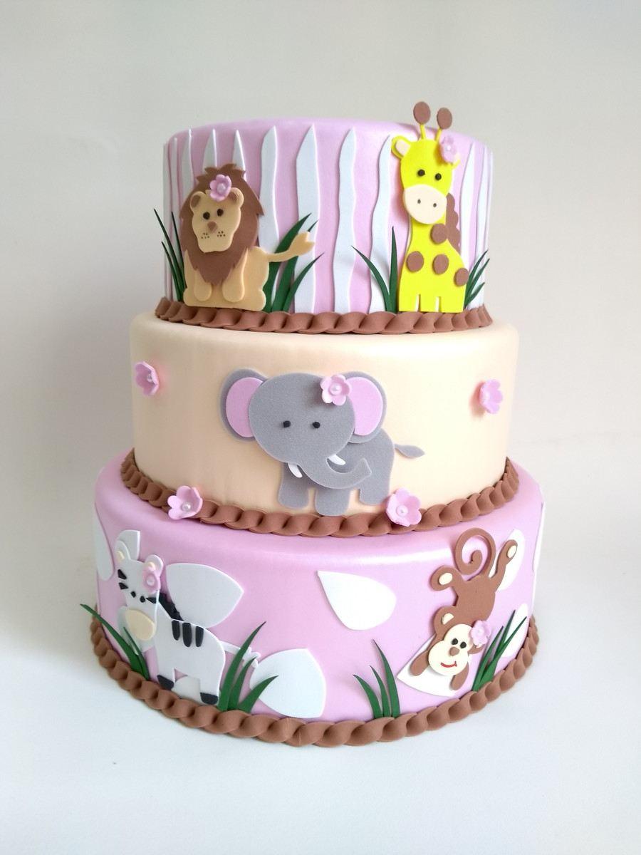 pastel de safari rosa