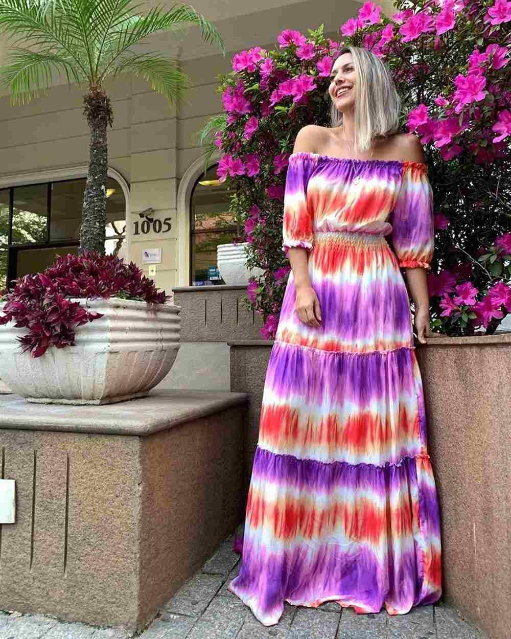 vestido largo con efecto tie dye