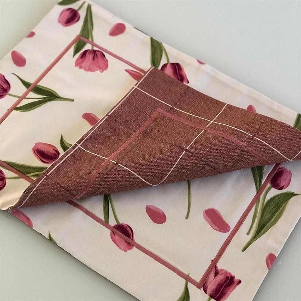 Mantel individual Tulipanes rosas
