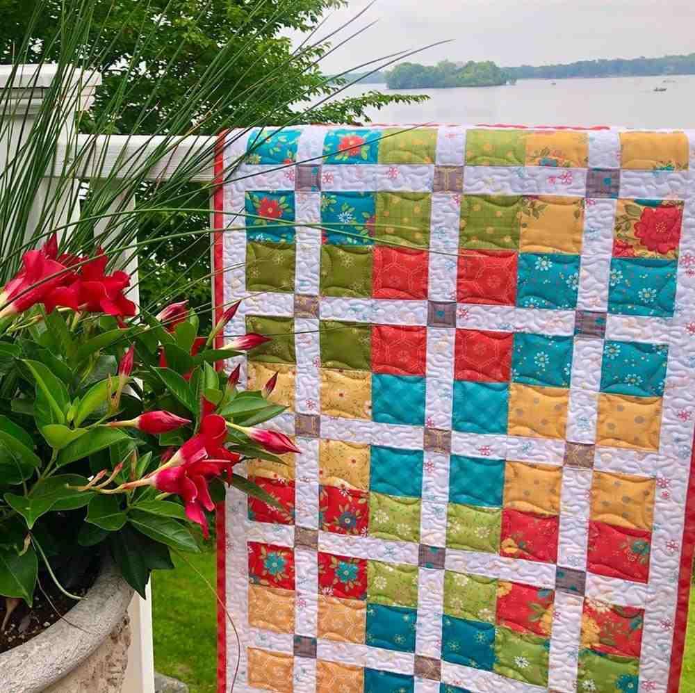 Colcha de patchwork de colores
