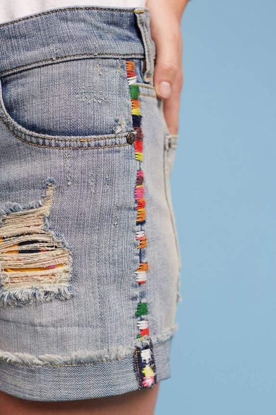 jeans cortos con línea