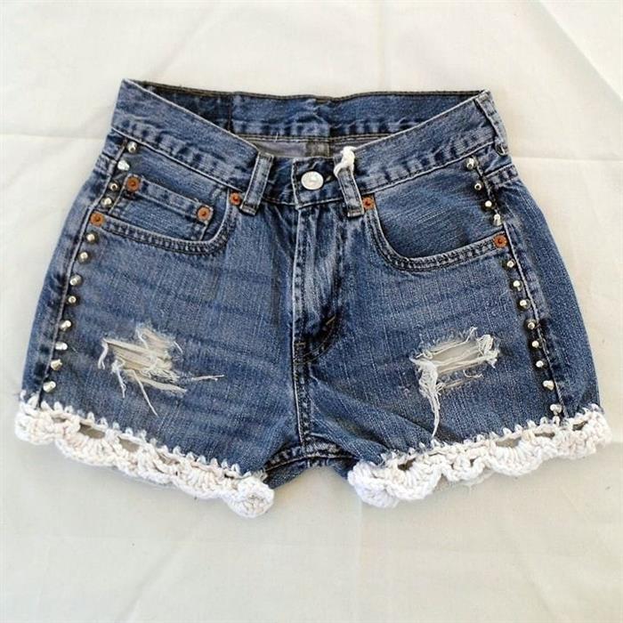 pantalones cortos de mezclilla de ganchillo